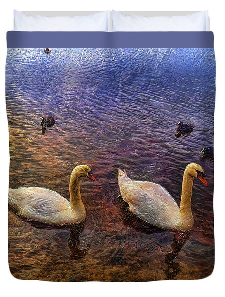 Mr And Mrs Swan Go Viisiting Duvet Cover