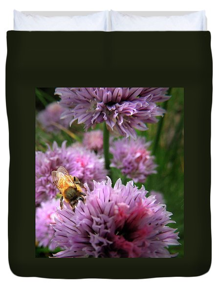 Mr Bee On My Chives Duvet Cover