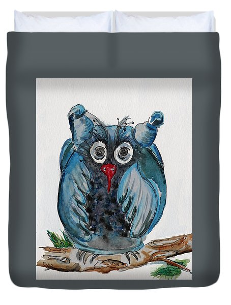 Mr. Blue Owl Duvet Cover
