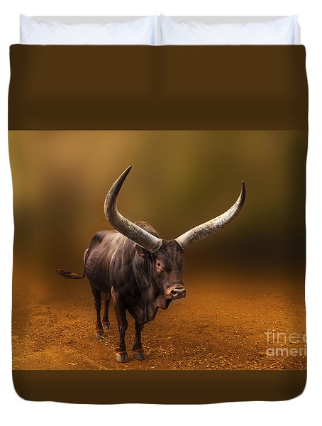 Mr. Bull From Africa Duvet Cover by Charuhas Images