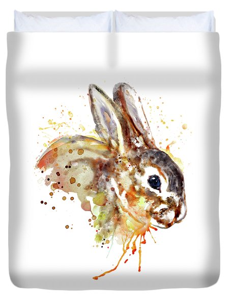 Duvet Cover featuring the mixed media Mr. Bunny by Marian Voicu