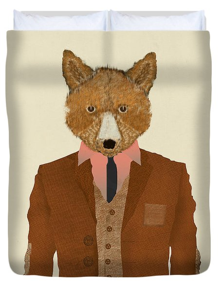 Duvet Cover featuring the painting Mr Fox by Bri B