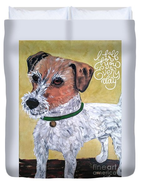 Duvet Cover featuring the painting Mr. R. Terrier by Reina Resto