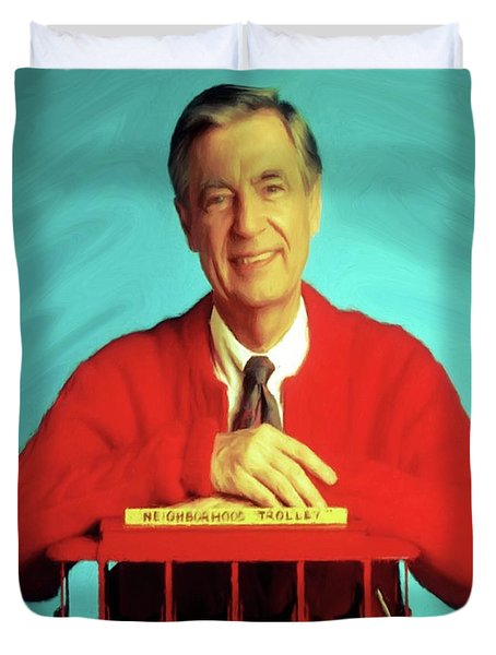 Mr Rogers With Trolley Duvet Cover