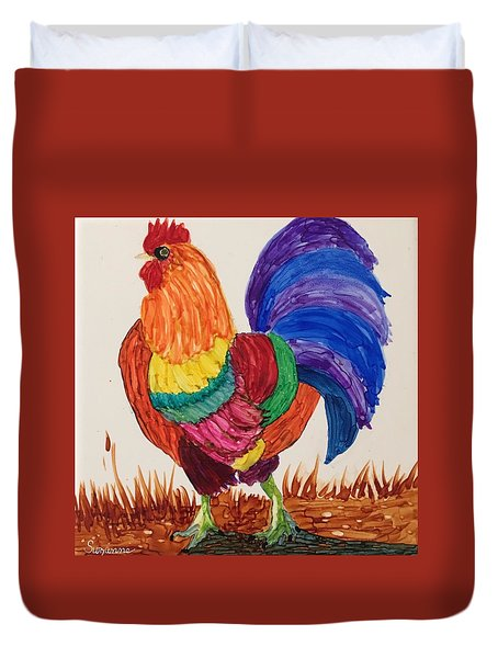 Mr Rooster Duvet Cover by Suzanne Canner