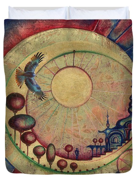 Duvet Cover featuring the painting Mr Twardowski On The Moon by Anna Ewa Miarczynska
