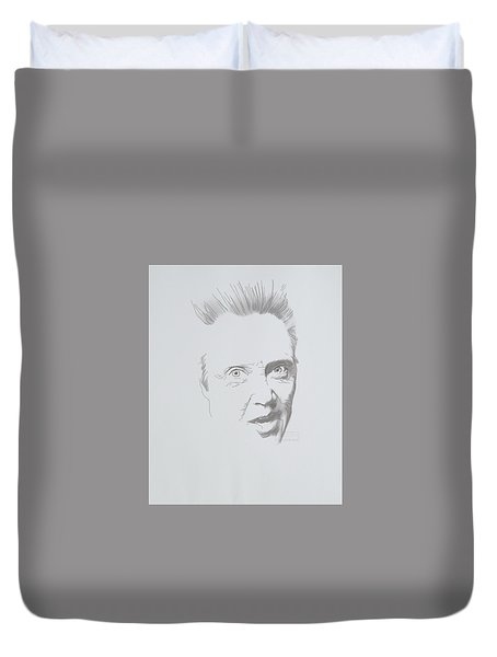 Duvet Cover featuring the mixed media Mr. Walken by TortureLord Art