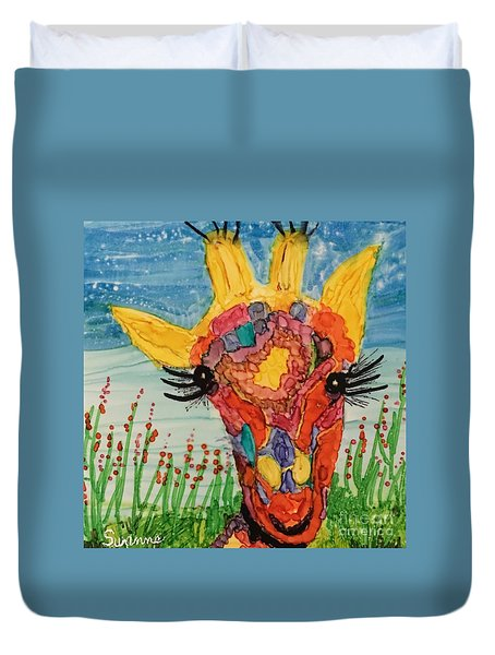 Mrs Giraffe Duvet Cover by Suzanne Canner