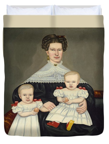 Mrs Paul Smith Palmer And Her Twins Duvet Cover