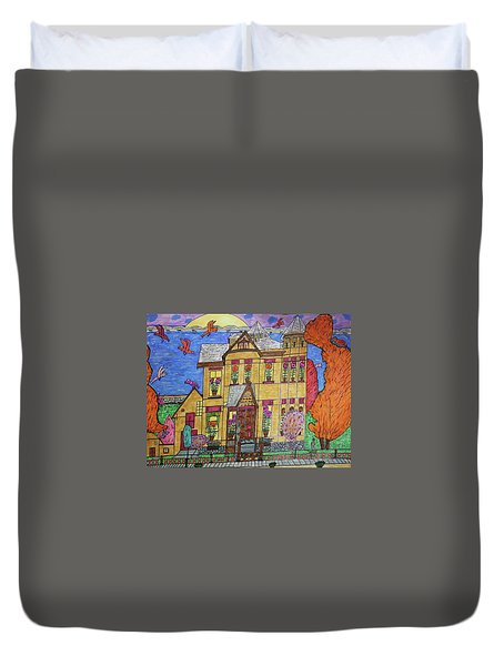 Duvet Cover featuring the drawing Mrs. Robert Stephenson Home. by Jonathon Hansen