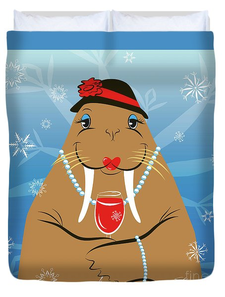Mrs. Walrus Duvet Cover