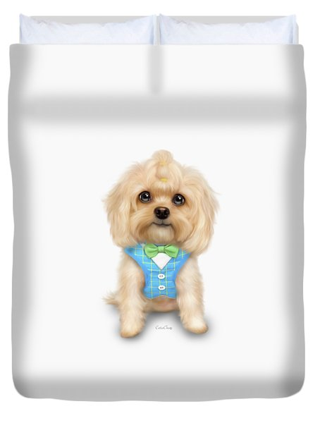 Duvet Cover featuring the painting Mr.toby Waffles by Catia Lee