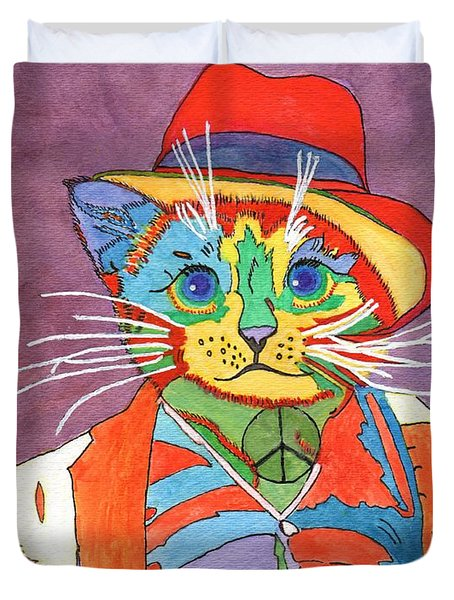 Mr.wisker For Peace Duvet Cover by Connie Valasco