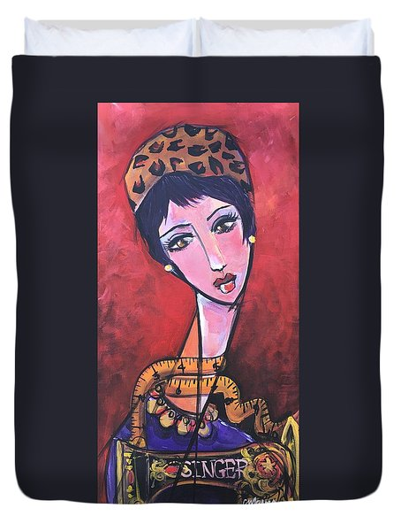 Duvet Cover featuring the painting Ms. Bimba Fashionable Seamstress by Laurie Maves ART