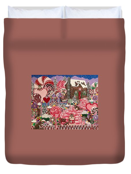 Ms. Elizabeth Peppermint World Duvet Cover by Jennifer Lake