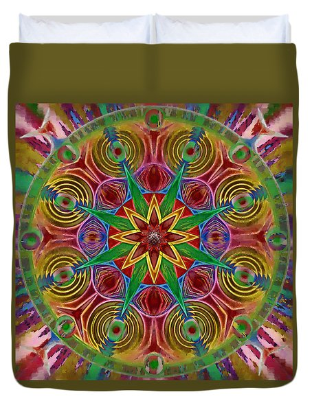 Duvet Cover featuring the painting Msytic Visions by Mario Carini