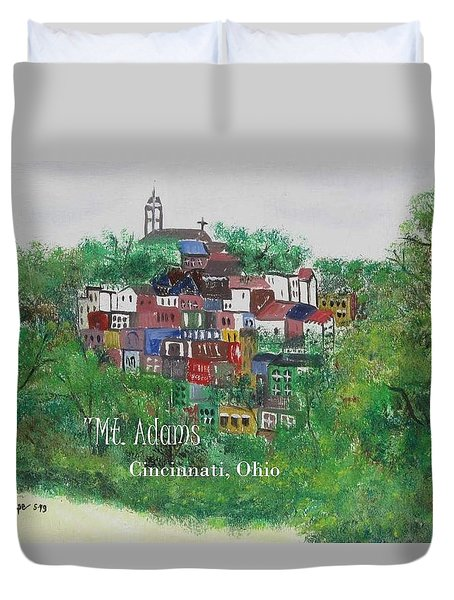 Mt Adams Cincinnati Ohio With Title Duvet Cover