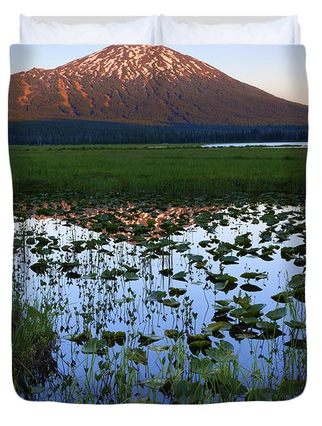 Mt. Bachelor Sunset Duvet Cover