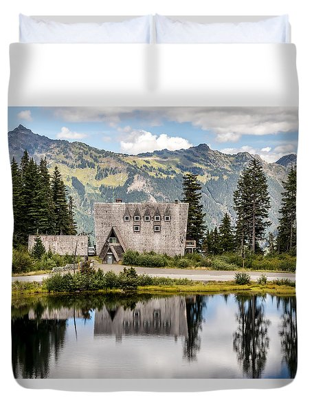 Duvet Cover featuring the photograph Mt Baker Lodge In Picture Lake 1 by Rob Green