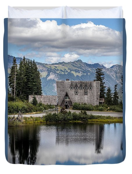Duvet Cover featuring the photograph Mt Baker Lodge Reflecting In Picture Lake 3 by Rob Green