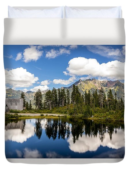 Duvet Cover featuring the photograph Mt Baker Lodge Reflection In Picture Lake 2 by Rob Green