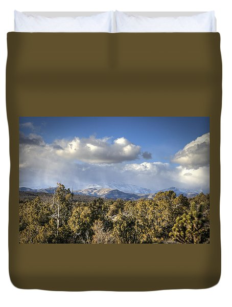 Mt Charleston Snow Storm Duvet Cover