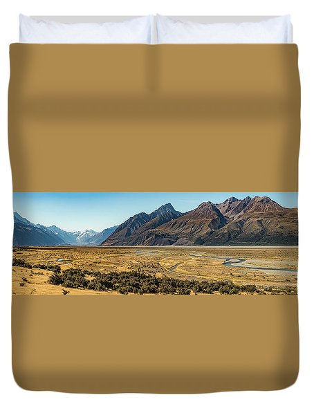 Duvet Cover featuring the photograph Mt Cook And Tasman River  by Gary Eason