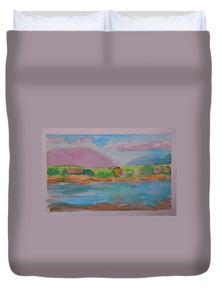 Duvet Cover featuring the painting Mt Desert From Marlboro Beach by Francine Frank