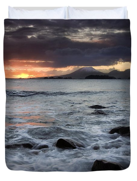 Mt. Edgecumbe Sunset Duvet Cover by Mike  Dawson