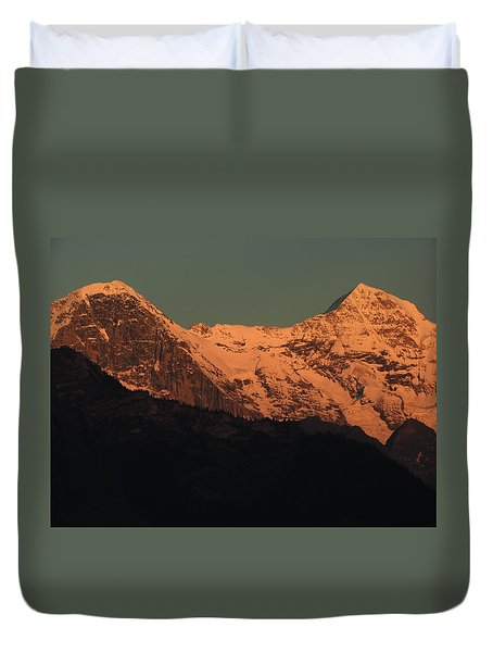 Mt. Eiger And Mt. Moench At Sunset Duvet Cover