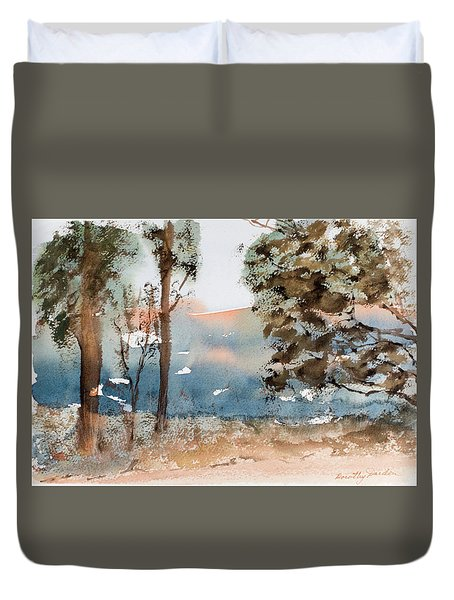 Mt Field Gum Tree Silhouettes Against Salmon Coloured Mountains Duvet Cover