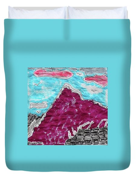Mt. Fuji Village  Duvet Cover