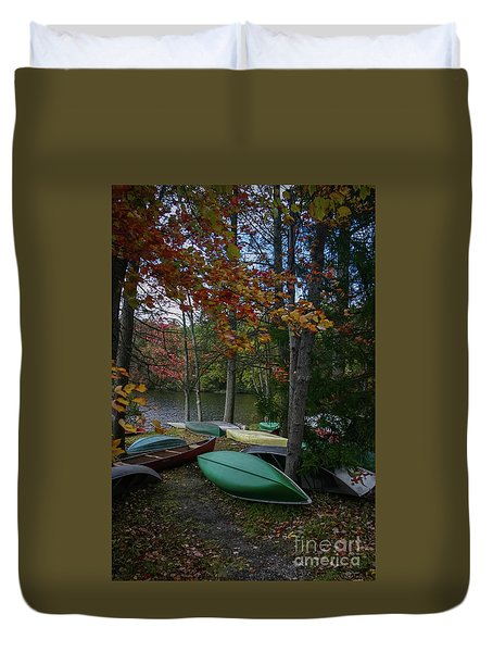 Mt. Gretna Canoes In Fall Duvet Cover