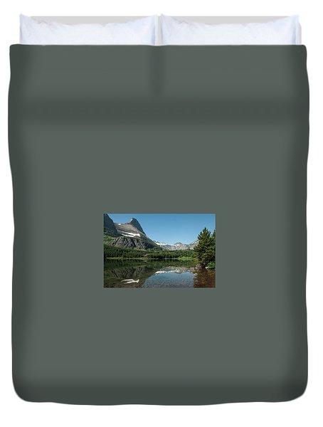 Mt. Grinnell Across Red Rock Lake Glacier National Park Duvet Cover