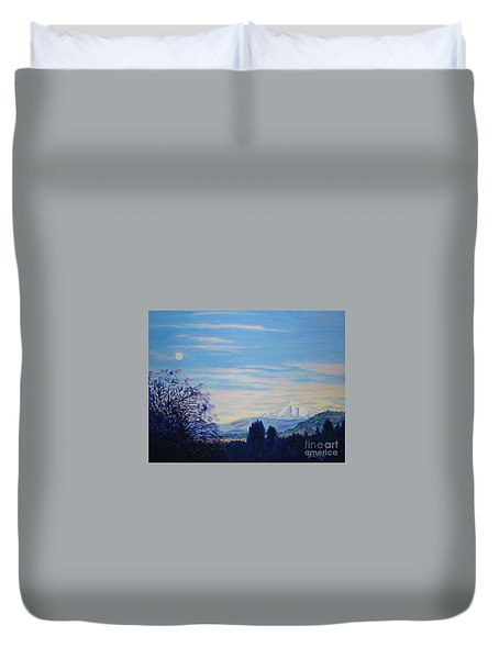 Mt Hood A View From Gresham Duvet Cover by Lisa Rose Musselwhite