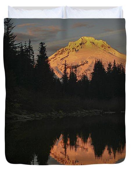 Mt Hood Alpenglow II Duvet Cover