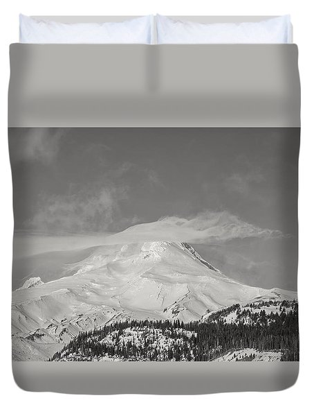 Mt Hood From White River Duvet Cover