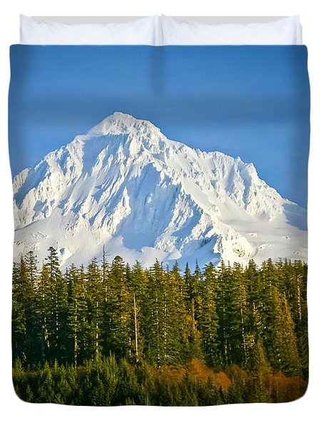 Mt Hood In Winter Duvet Cover
