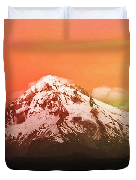 Duvet Cover featuring the photograph Mt Hood Oregon Sunset by Aaron Berg