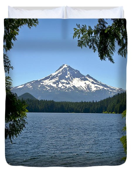 Mt Hood Over Lost Lake Duvet Cover
