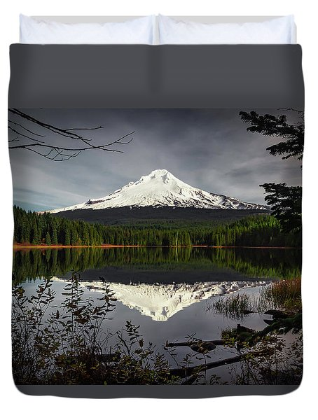 Mt Hood Reflection Duvet Cover
