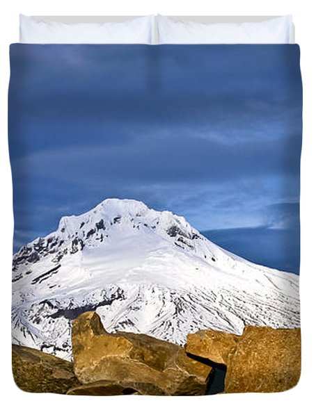 Mt Hood With Talus Duvet Cover