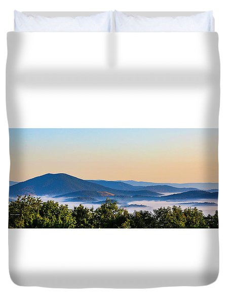 Mt. Jefferson Cloud Lake Duvet Cover by Dale R Carlson
