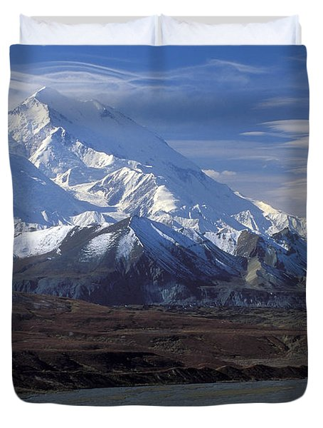 Mt. Mckinley And Lenticular Clouds Duvet Cover by Sandra Bronstein