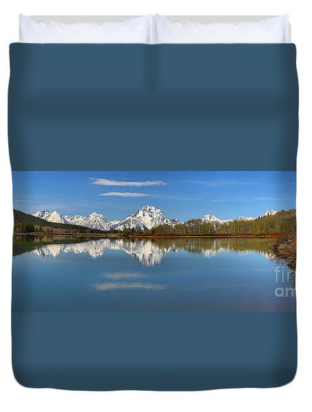 Mt. Moran Reflections At Oxbow Duvet Cover by Adam Jewell