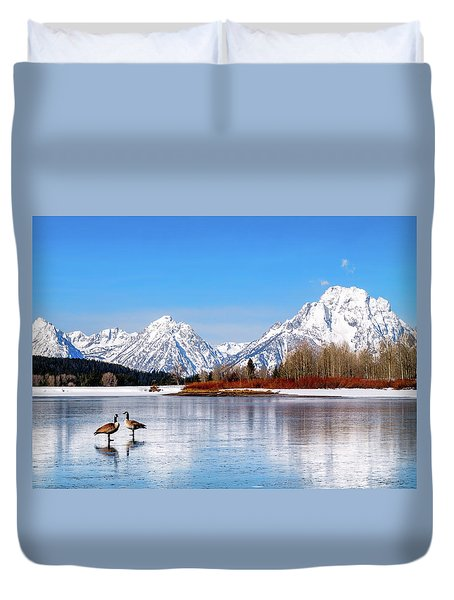 Mt Moran With Geese Duvet Cover
