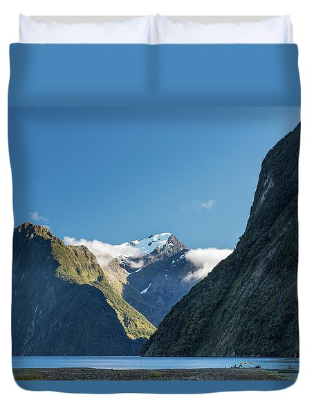 Duvet Cover featuring the photograph Mt Pembroke Glacier by Gary Eason