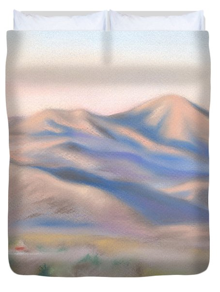Duvet Cover featuring the pastel Mt. Pisgah Morning Over Asheville by MM Anderson