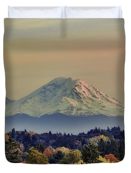 Mt Rainer Fall Color Rising Duvet Cover by James Heckt
