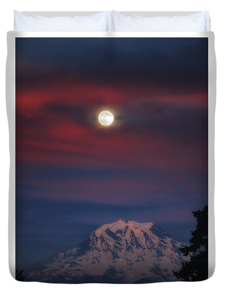Mt Rainer Super Moon Duvet Cover